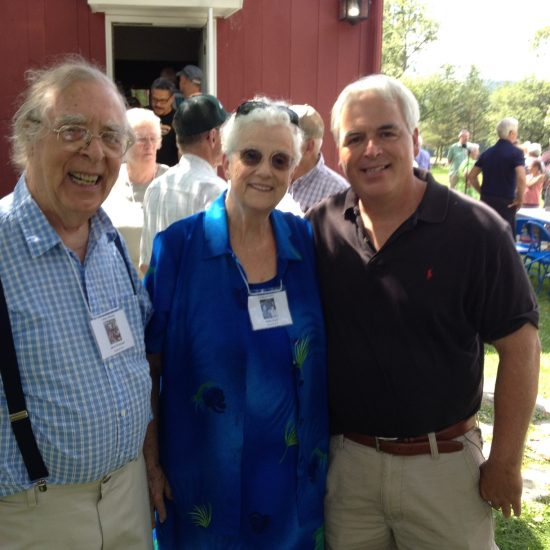 Author S.T. Haggerty, right, greets his friends Jarvis Rockwell and Ardis Edgerton Clark (important to use maiden and current last name in all places) at a recent Vermont Rockwell Model's reunion.  Both were favorite models of Norman Rockwell in West Arlington, Vermont. Haggerty lived in the same quaint New England town.
