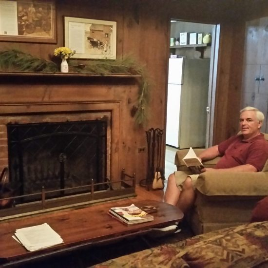 Author S.T. Haggerty stayed in Norman's former studio for a few days and enjoyed lounging in front of the fireplace where Norman would stretch out and take naps.